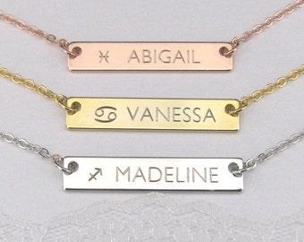 Zodiac Bar Necklace, Zodiac Name Necklace, Rose Gold Silver Bar Necklace, Personalized Jewelry, Astrology Necklace, Name Bar Necklace
