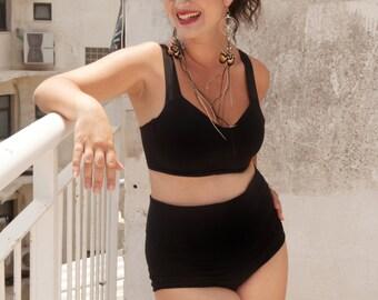 Black High Waist Bikini Swimsuit ,Black Bikini , High Waisted Bikinis