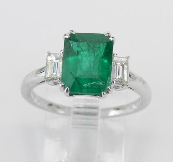 18K White Gold Emerald Diamond Three Stone Engagement Ring Size 7 VIVID Green