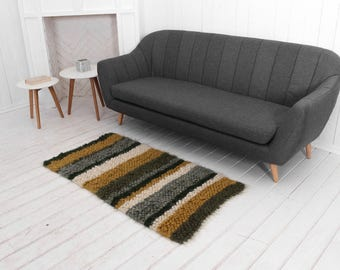 Shag rug olive wool runner carpet, Striped area rug, Modern wool carpet, rectangular rag, bedroom shag rug, hand woven rug, woven cozy rug