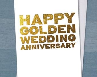 Happy Golden Wedding Anniversary / 50 years married / 50th wedding anniversary / Typography / Typographical