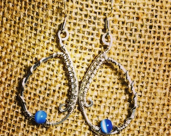Silver Wire Weave Earrings with Cat's Eye Accents