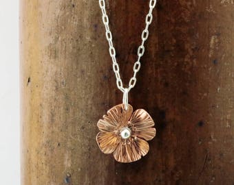 Poppy necklace, Copper, Sterling Silver, flower pendant, adjustable length