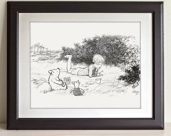 Picnic - Winnie the Pooh and Christopher Robin 11x14 Unframed Nursery Art Print