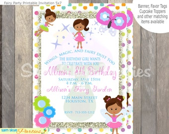 Magical Fairy Birthday Printable Invitation, Fairy Party, Birthday Party Invitation