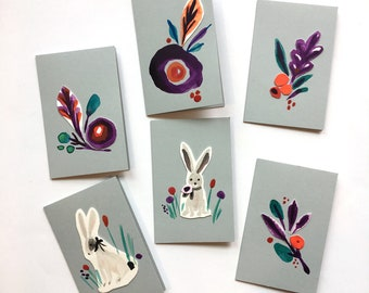 Bunnies and Blooms Mini Handmade Cards