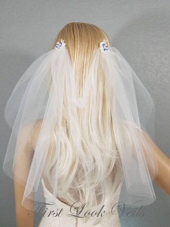 Wedding Veil, Bridal Veil, Draped Shoulder Veil, Diamond White and Blue, Drop Veil, Handmade, Bride, Accessory, Gift