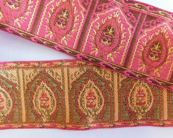 "Woven Jacquard Ribbon Trim Tape~Pink jacquard~~Pink~Yellow~1-13/16"" wide"