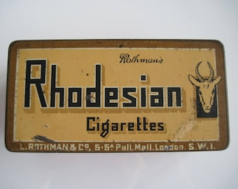 Rhodesian Cigarette Tin (100/empty) by L.Rothmans & Co c.1940