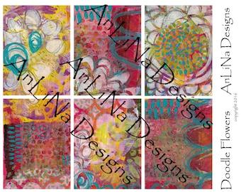 Doodle Flowers Printable Art Journal Cards, 3x4, Digital Download