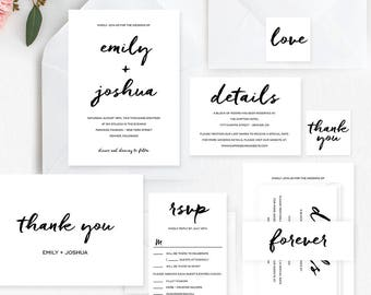Contemporary Printable Wedding Invitation Set - Wedding Suite Editable Template - Instant Download #CBC