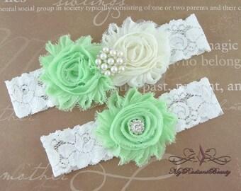 Wedding Garter, Garter, Bridal Garter, Shabby Chiffon Ivory and Mint Green Garter, Garter Belt, Handmade Garter, Lace Garter Set GTF0026MT
