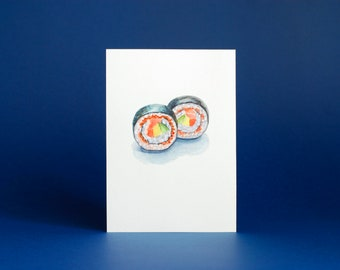 sushi art / small painting / sushi roll / food illustration / seafood wall art / 5x7 original painting / sushi lover / japanese food