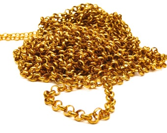 Gold Mesh chain round rings: 6.5 * 6.5 * 2 mm, set of 1 M