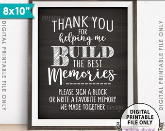 """Sign a Block Sign, Thank You for Helping Me Build Memories, Retirement, Graduation Party, PRINTABLE 8x10"""" Chalkboard Style Memory Sign <ID>"""