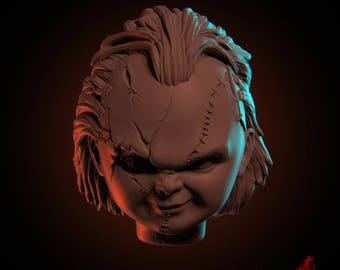 Chucky heads STL&OBJ Files for 3D printing (Video preview https://vimeo.com/229807016)
