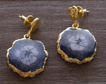 Gray Solar Quartz Earring