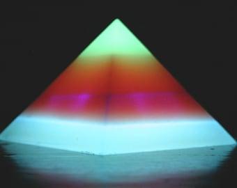 Banded Glow-in-the-Dark Pyramid - Medium - 4-Band - green, orange, purple, blue (top down)