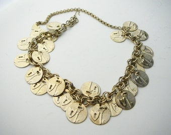 """Vtg Key To My Heart Multiple Charm Gold Coin Necklace Medallion Adjustable 14"""" to 18"""""""