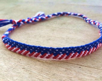 American Flag Friendship Bracelet, Red White and Blue Friendship Bracelet, Handmade Macrame Bracelet, String Bracelet