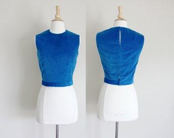 1960s Velvet Top   Velvet Blouse   Sleeveless Blouse   Royal Blue Velvet   Small