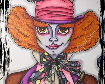 Digital stamp colouring image - Underland Crazy Hatter. jpeg / png