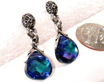 Blue Swarovski Earrings: Purple and Blue Crystal Earrings, Aqua Vitrail Light, Antiqued Silver Post Earrings, Swarovski Blue Earrings