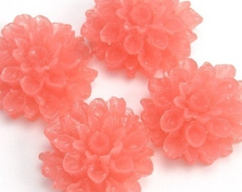 Dahlia Flower Plastic Cabochons - Transparent Melon - 18mm (4) PC075