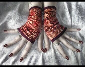 Boheme Bella Velvet Fingerless Gloves | Wine Burgundy Red Warm Golden Cream Floral | Gothic Belly Dance Dark Tribal Vampire Boho Gypsy Goth