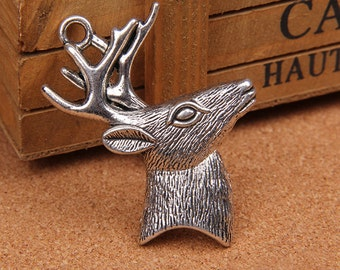 2pcs 44x59mm  Antique silver Sika Deer Charm Pendant--gift---Christmas
