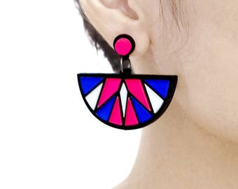 Last- 50% off-4pcs (2 Pairs) Laser Cut Acrylic Bohemia Geometry Earring Jewelry (AGE04) Geometry Series