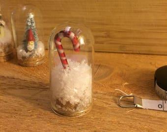Sugary-Sweet Candy Cane Mini Snow Globe
