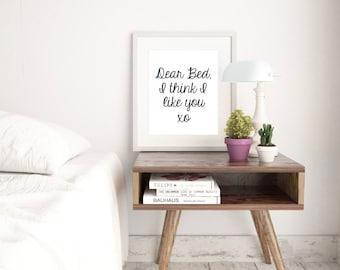 Dear Bed Monochrome Typography Print