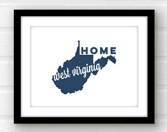 West Virginia art | West Virginia home | West Virginia print | Morgantown, WV home decor | state wall art | state pride print