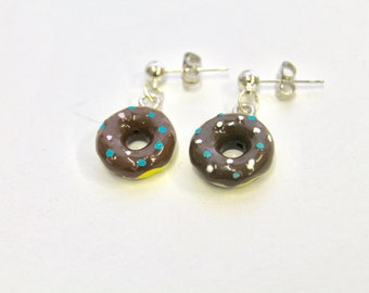 Chocolate Glazed Donut Earrings, Fun and Quirky Earrings, Food Jewelry, Gift For Her, Doughnut Earrings, Donut Lover, Girlfriend Gift