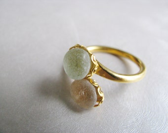 Double Sea Glass Seafoam and Amethyst Ring - Gold Plated Beach Glass Ring -  Beach Glass Jewelry-Ocean Gifts of the Sea-Prince Edward Island