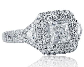 1.88 Ct Princess Cut Diamond Engagement Ring w/ Trillion Cut Side Diamonds, Princess Cut Diamond Ring, Halo Engagement Ring,  14k White Gold