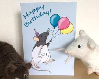 Fancy hooded rat birthday card, A6 size, blank inside, 300gsm card, white envelope, cute rat, balloons, rat gift, birthday rat lover