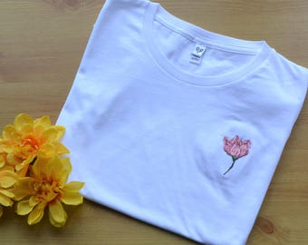 Embroidered Tulip T-shirt, Hand Embroidered, Floral Embroidery, Organic Cotton T-shirt