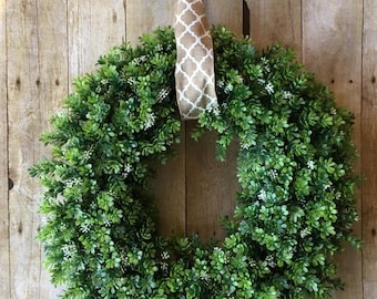 Farmhouse Wreath- Boxwood with pattern