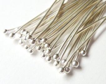 100pcs - 22 Gauge -  Fine Silver Headpins - Choose Your Length - Tagt Team