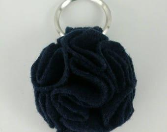 Navy Blu Ruffled Felt Flower Keychain Key Chain Gift Handmade Gift Felt Flower Keyring Under 10 dollars Sweet 16 Flower Gift Floral Key Ring