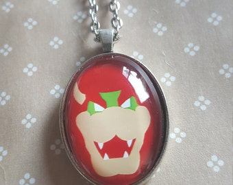 22x30mm oval necklace - Bowser -Super mario