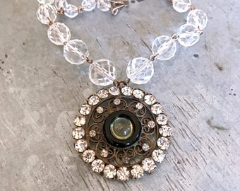 Re-purposed necklace, crystal glass necklace, up-cycled vintage necklace, antique pendant necklace, antique bronze, assemblage necklace,