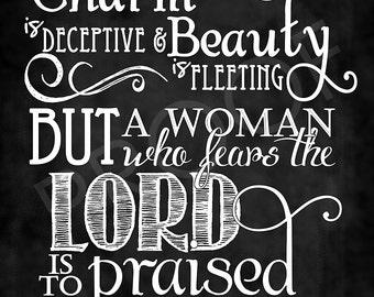 Scripture Art - Proverbs 31:30 Chalkboard Style