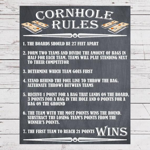 Yard Games Cornhole Sign Poster Cornhole Rules Outdoor