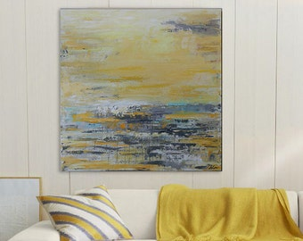 Gray and yellow abstract ,abstract art,Gray and yellow painting,Gray and yellow deco,modean ,Acrylic painting