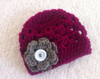 Crochet Newborn Baby Girl Beanie With Attached Flower