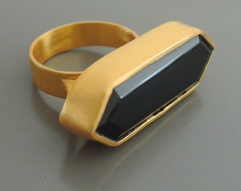 Statement Ring - Gold Ring - Black Ring - Onyx Ring - Geometric Ring - Modern Ring