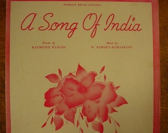 Sheet Music A Song Of India Music Sheet Antique Vintage Rimsky Korsakoff